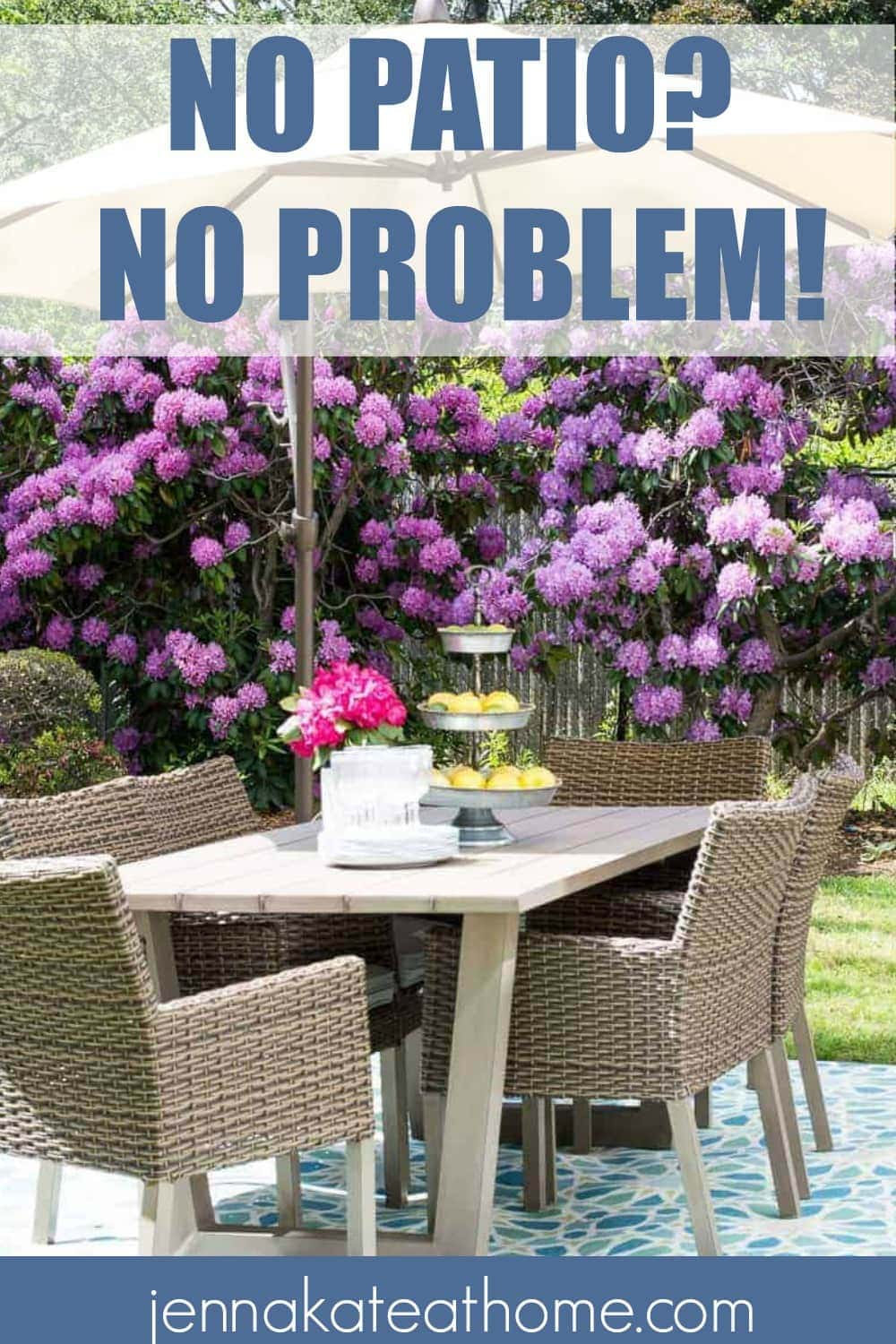 No patio? Decorate and style your backyard with these simple ideas that don't require a patio or deck!