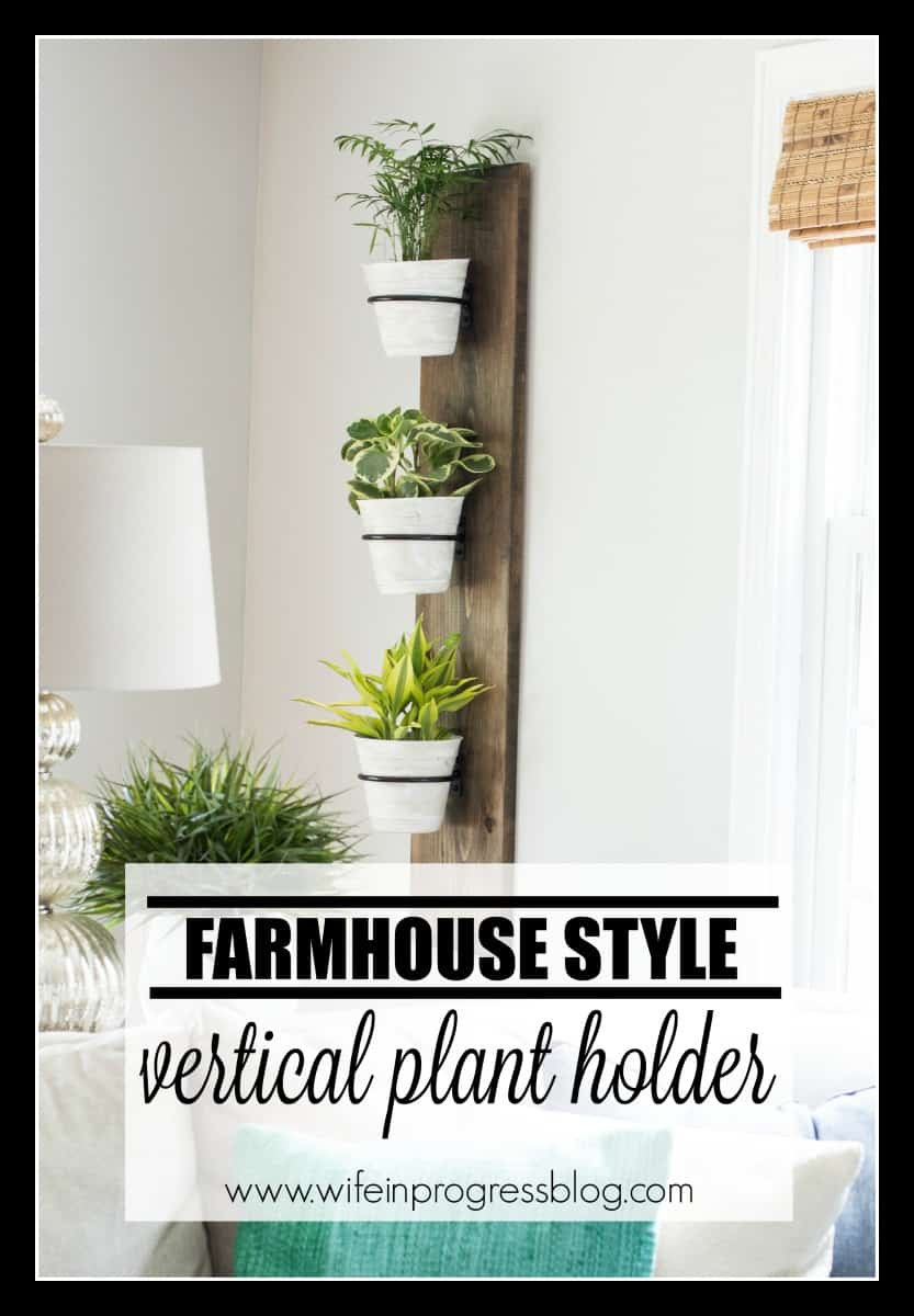This DIY farmhouse style plant holder is easy to make and looks cute in dining rooms, living room & kitchens.
