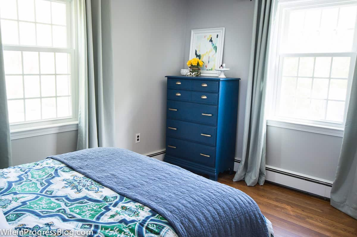 Navy Blue Painted Bureau With Velvet Finishes Paint Set In Bedroom