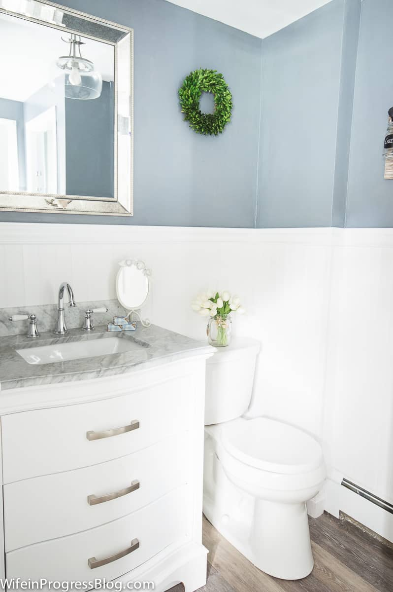 The new bathroom vanity with a marble counter top really upgraded our master bathroom space
