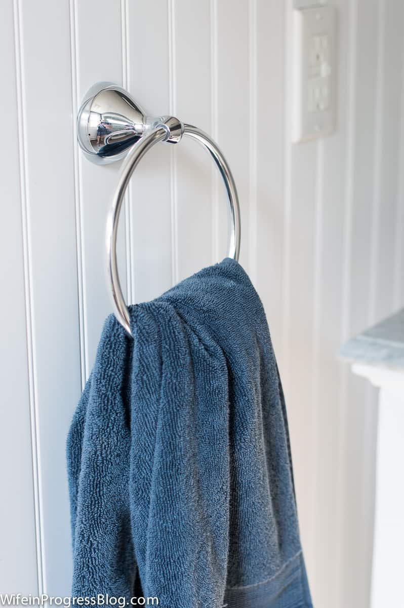 This chrome towel ring matches all the other chrome fixtures in our new master bathroom