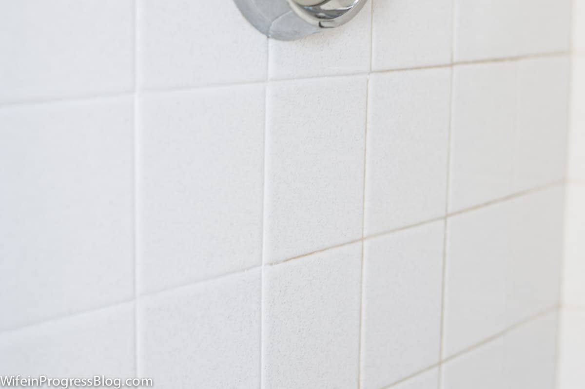 I used white acrylic paint to refresh the grout in our tiled shower and the difference is amazing
