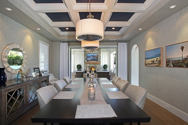 A coffered ceiling with naval inlay