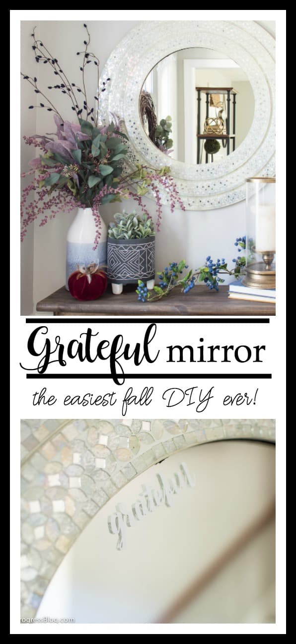 Just add some simple stickers or decals to a mirror with a word or phrase for the season. Such a simple way to decorate for fall and Christmas!