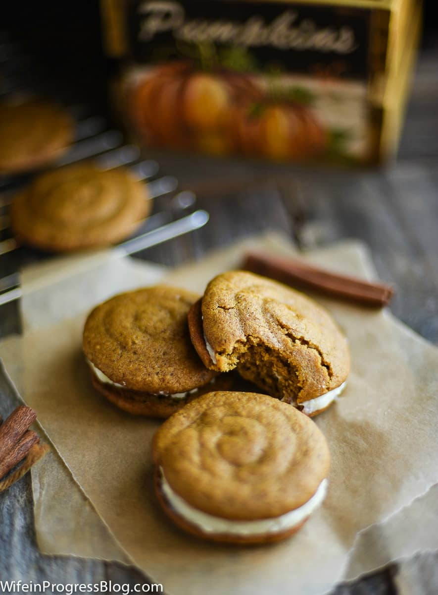 These Pumpkin Whoopie Pies with Cream Cheese Filling are the perfect fall dessert. They're easy to make and have all those warming flavors you crave in autumn.