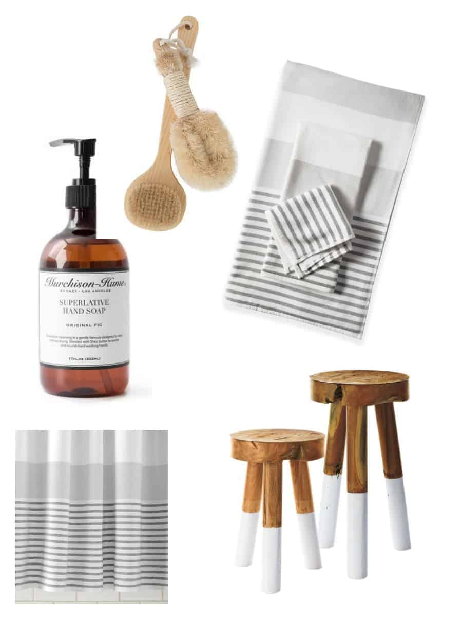 A collage of bath accessories - bath brush, bath towels and matching shower curtain, wooden bath stool etc.
