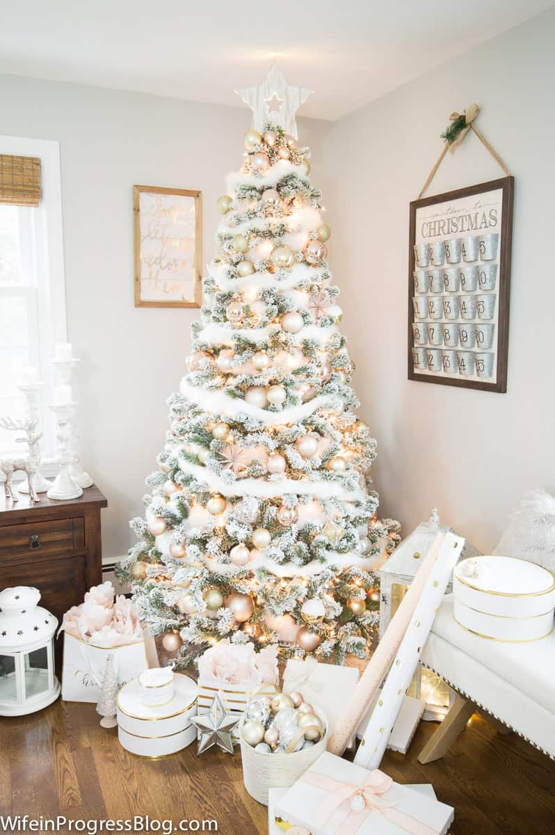 Flocked Christmas tree with blush pink and gold decorations