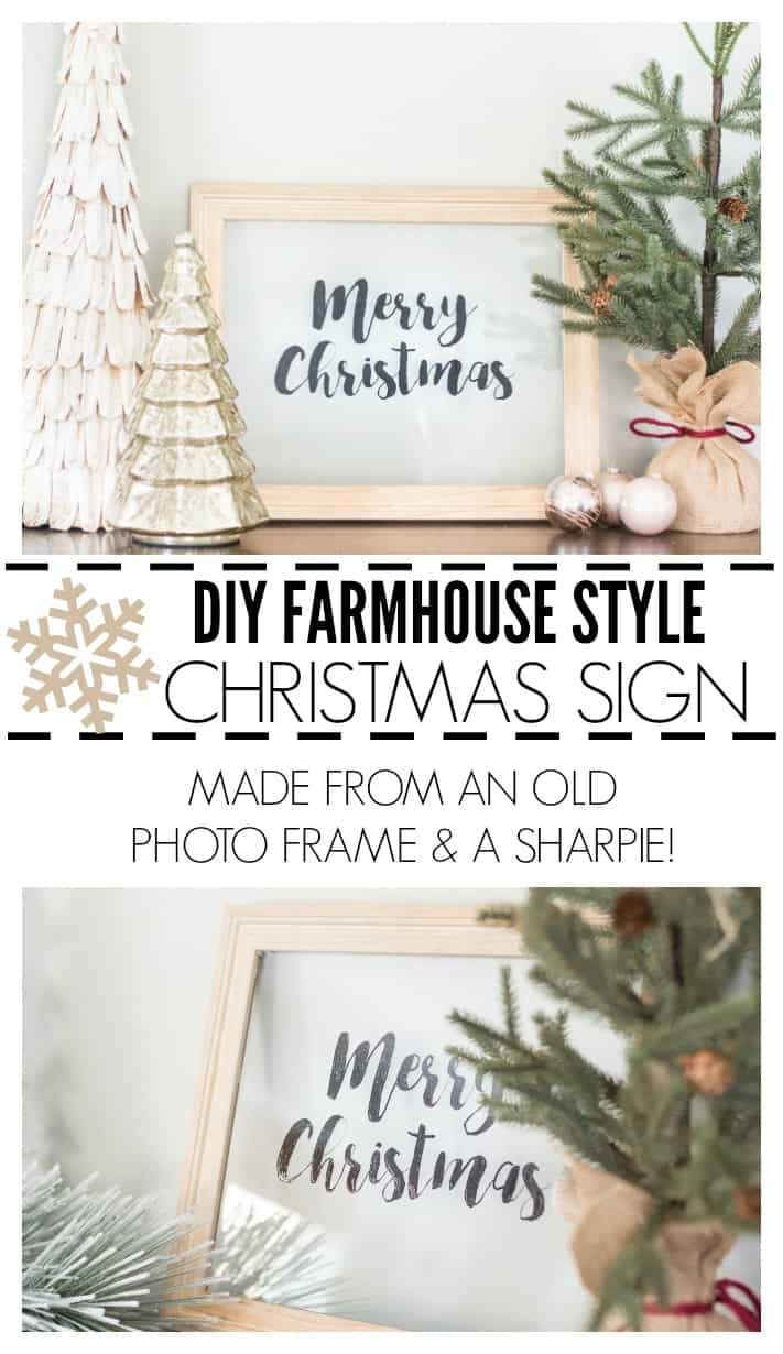 I love this idea! Using an old picture frame and an oil-based Sharpie to create a DIY farmhouse style Christmas sign. The template is included but you could easily print up your own, too!