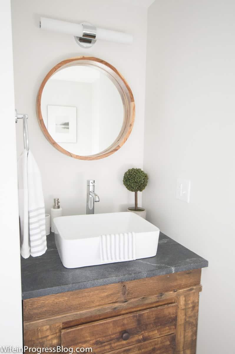 Modern farmhouse bathroom subwaytile reclaimed wood vanity 24 wife modern farmhouse bathroom subwaytile reclaimed wood vanity 24 dailygadgetfo Images
