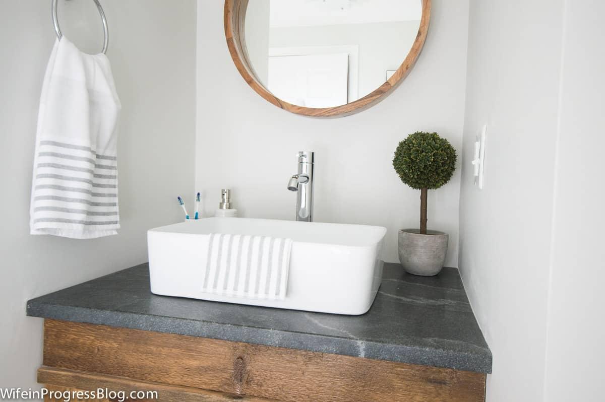 Modern farmhouse bathroom subwaytile reclaimed wood vanity 3 wife modern farmhouse bathroom subwaytile reclaimed wood vanity 3 dailygadgetfo Images