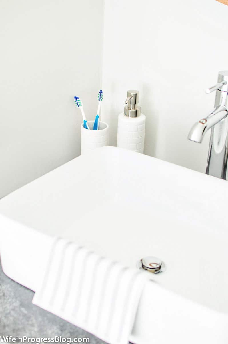 Subway tile soap and toothbrush holder for the modern farmhouse bathroom makeover