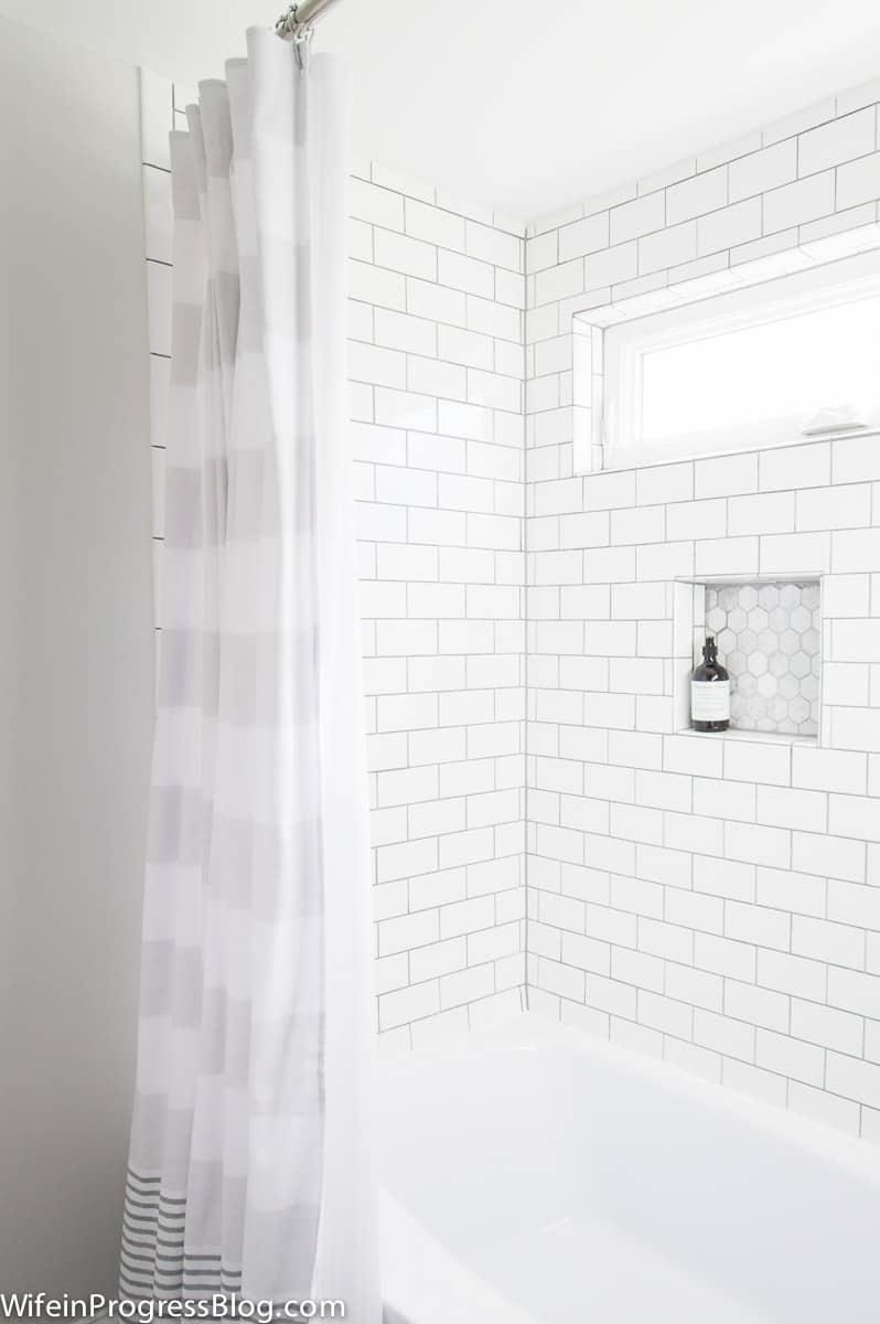 A Modern Vintage Bathroom Remodel. Delorean Gray Grout