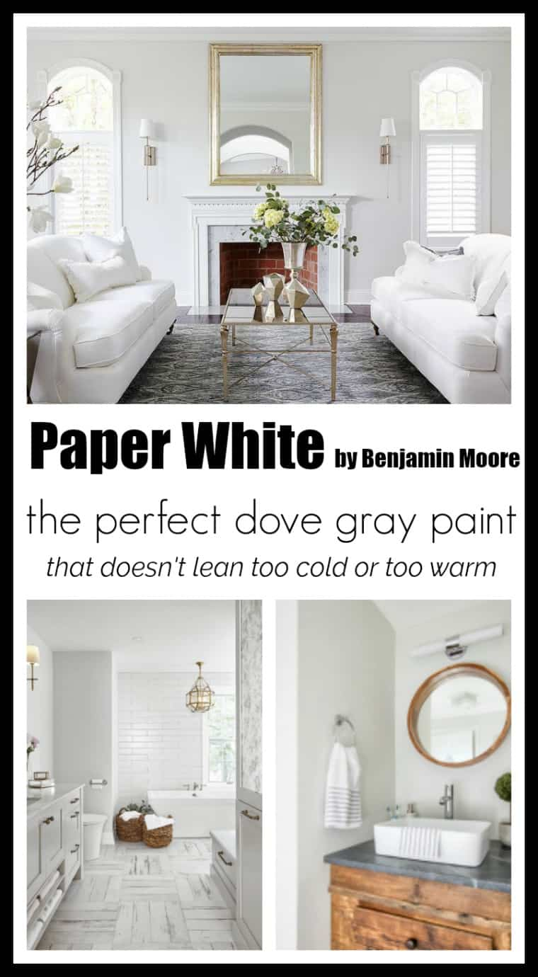 Paper White by Benjamin Moore is the perfect light neutral gray. It doesn't lean too cold or too warm, but instead has a soft creamy feeling about it.
