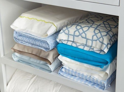 Store sheets inside a pillowcase to keep your linen closet organized