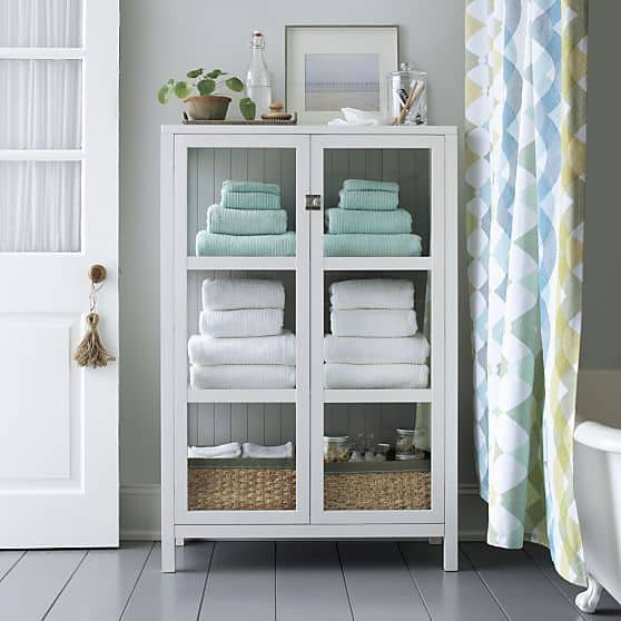 Fresh towels in linen closet