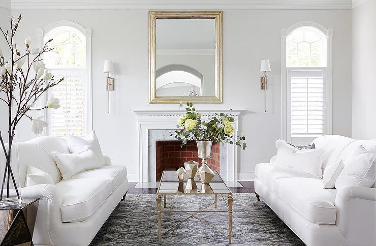 Almost white gray walls in a traditional living room.
