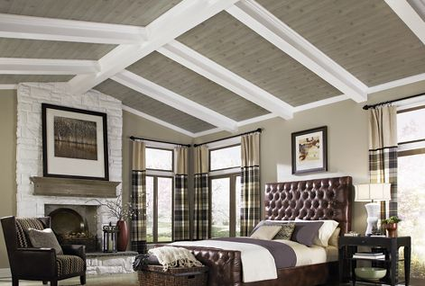 Vaulted wood planked ceiling