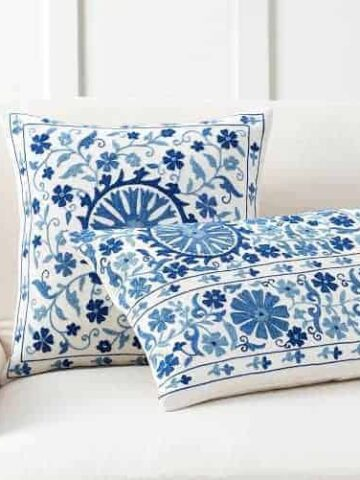blue and white pottery barn pillows