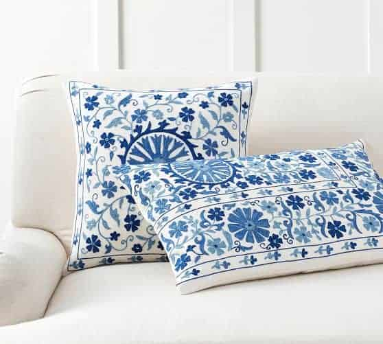 Blue embroidered pillows for spring home decor