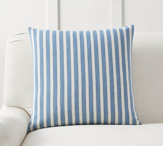Blue ticking stripe pillow for spring