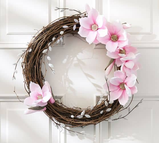 magnolia and pussywillow spring wreath