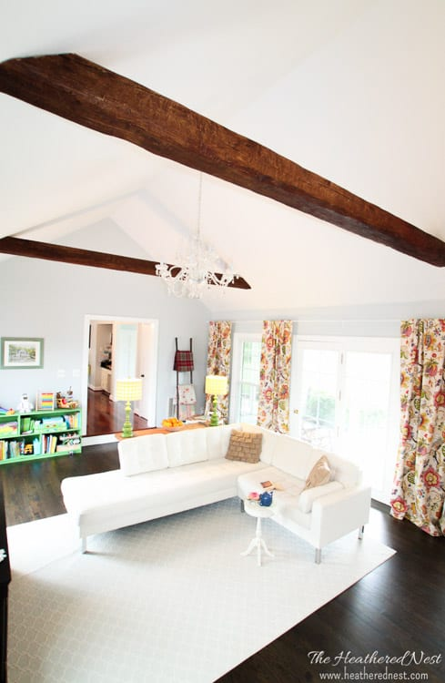 Faux Wood Beams in Living Room
