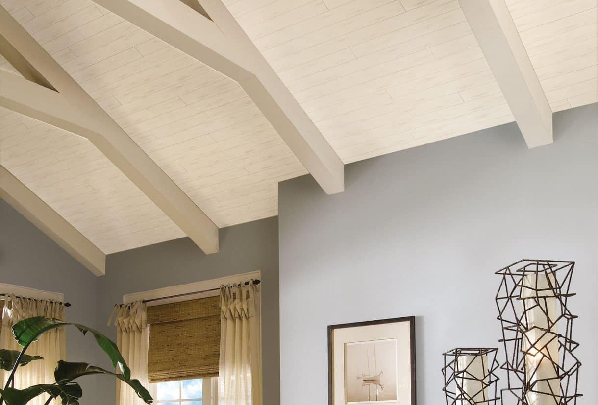 If I Ever Have Vaulted Ceilings, This Planked Wood Look Is Definitely What  I Want To Do!