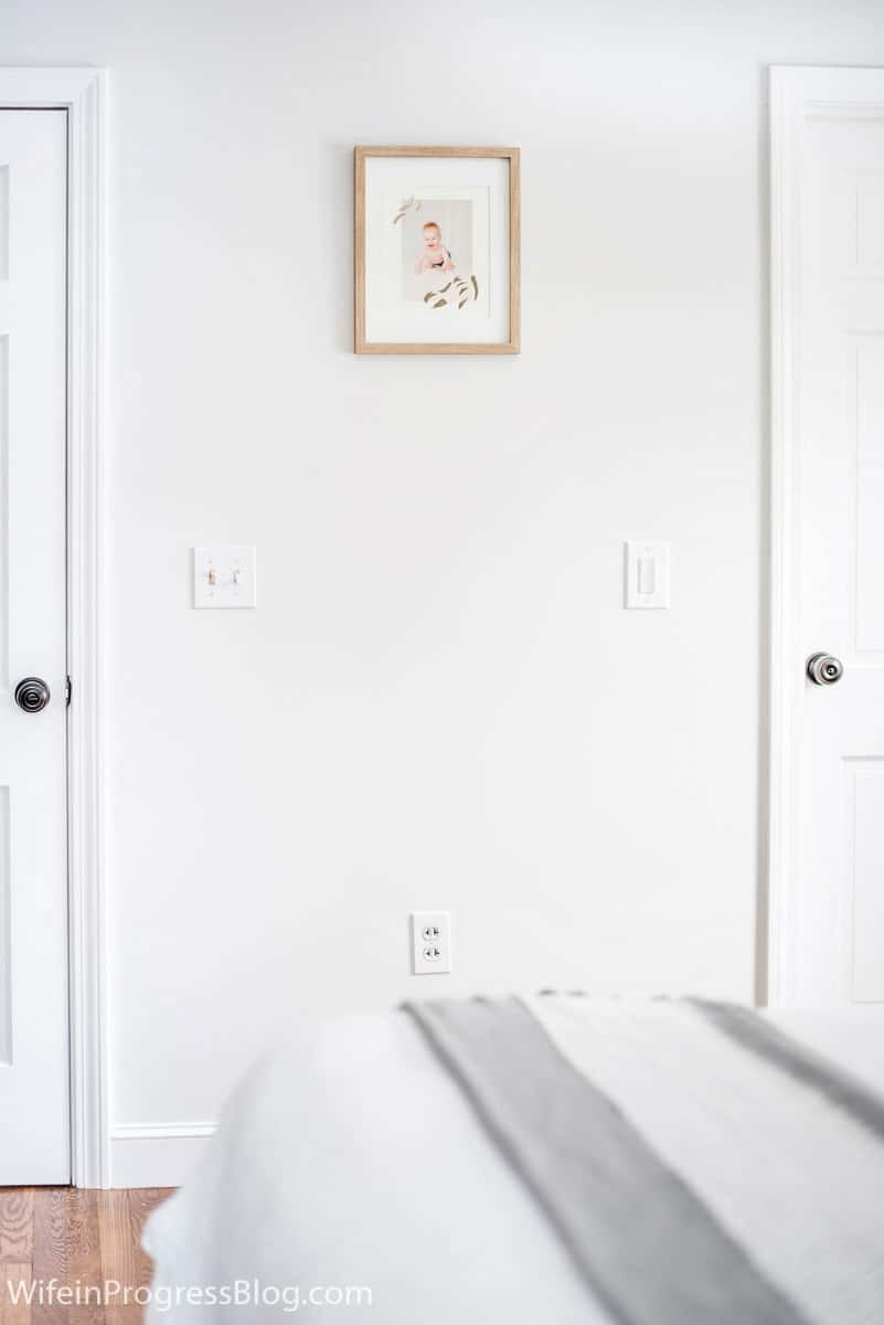 The perfect light gray paint color for a small bedroom is Benjamin Moore Paper White
