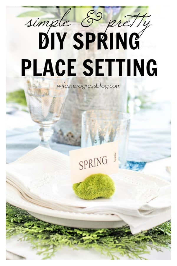 Make this simple DIY spring place setting using moss rocks and spring themed flash cards. This tablescape is so pretty you have to see the rest of it!