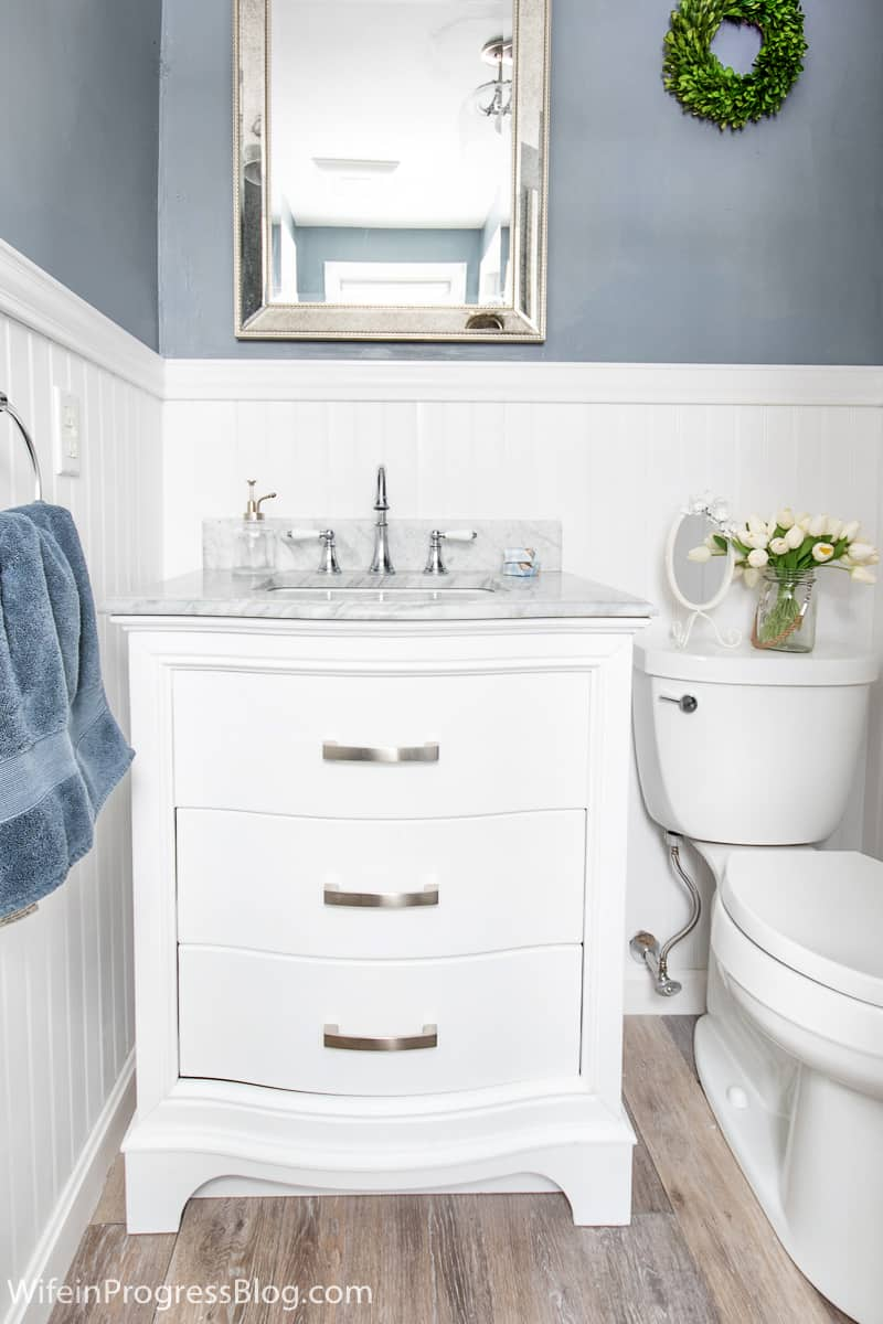 A darker blue gray color in a small bathroom