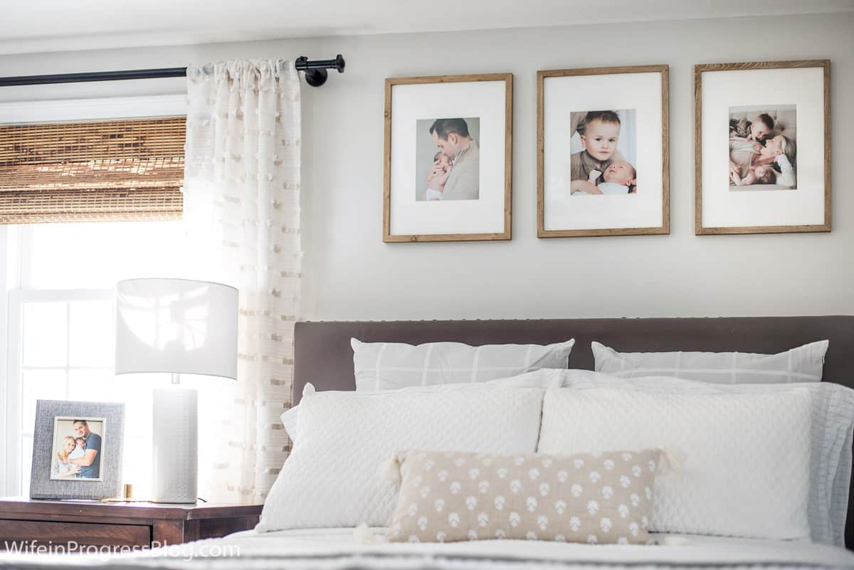 Rustic touches add warmth and character to this small master bedroom wall