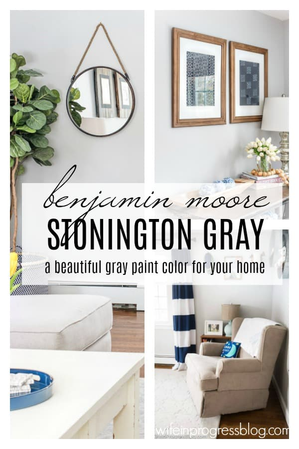 Stonington Gray by Benjamin Moore - it's undertones, color combinations that work with it and photos of this paint color in real living rooms and bedrooms