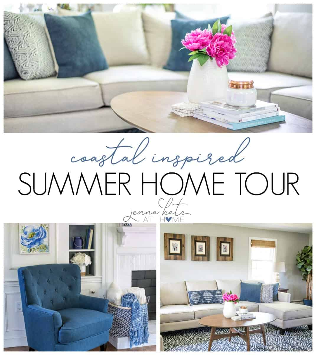 A coastal navy blue and white inspired living room for summer. Great ideas and inspiration as well as sources!