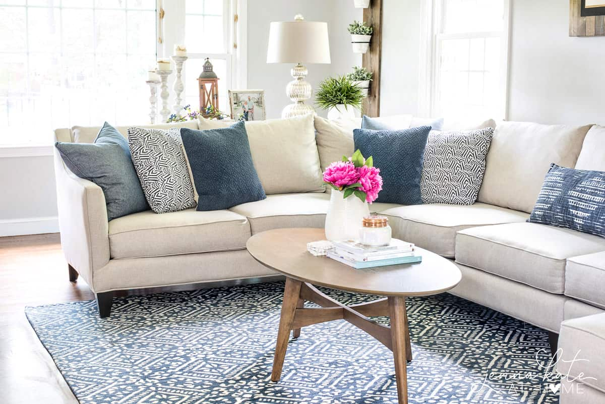 The perfect navy rug for a coastal inspired living room