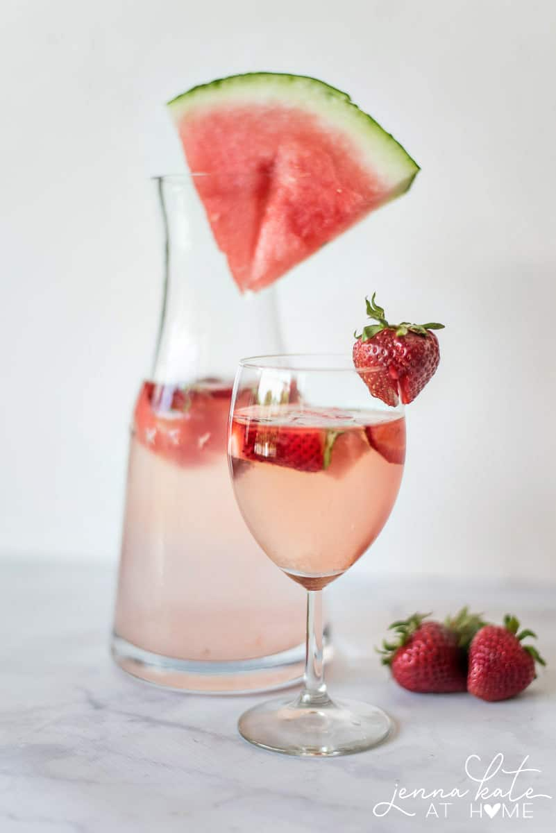 This strawberry, watermelon and basil rosé cocktail is kicked up a notch thanks to the addition of vodka. It's really the perfect summer sip that everyone will enjoy!