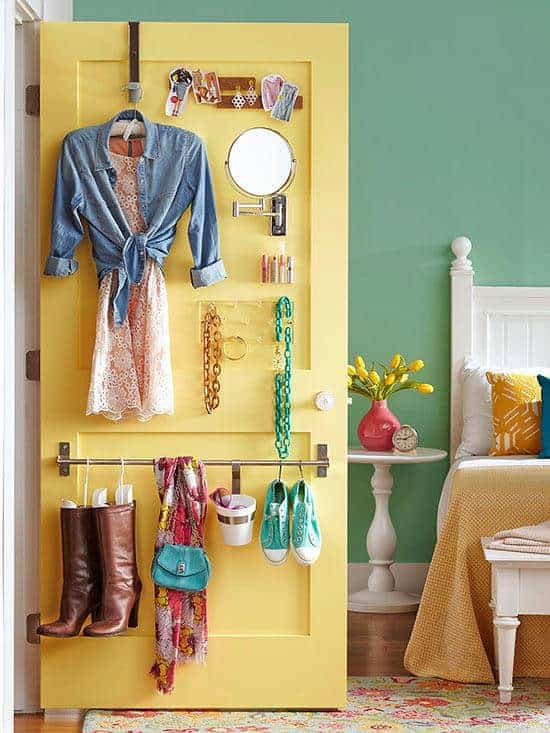 Back of the door storage: Get all your stuff off the ground and hanging up!