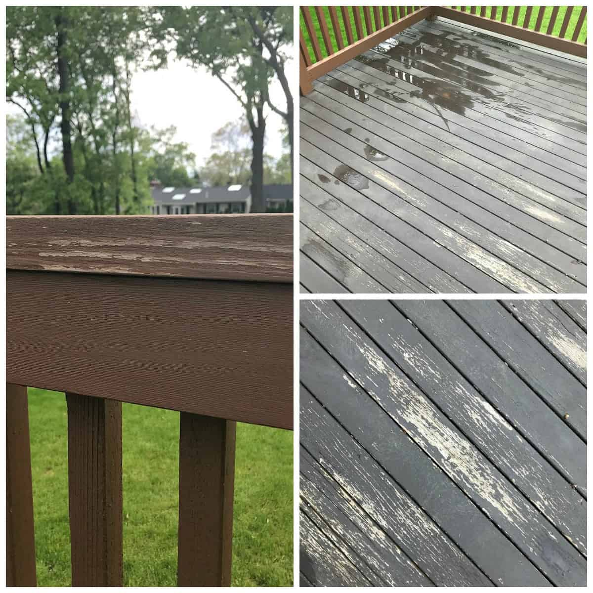 Old deck with chipping and peeling paint, cracks and lots of splinters