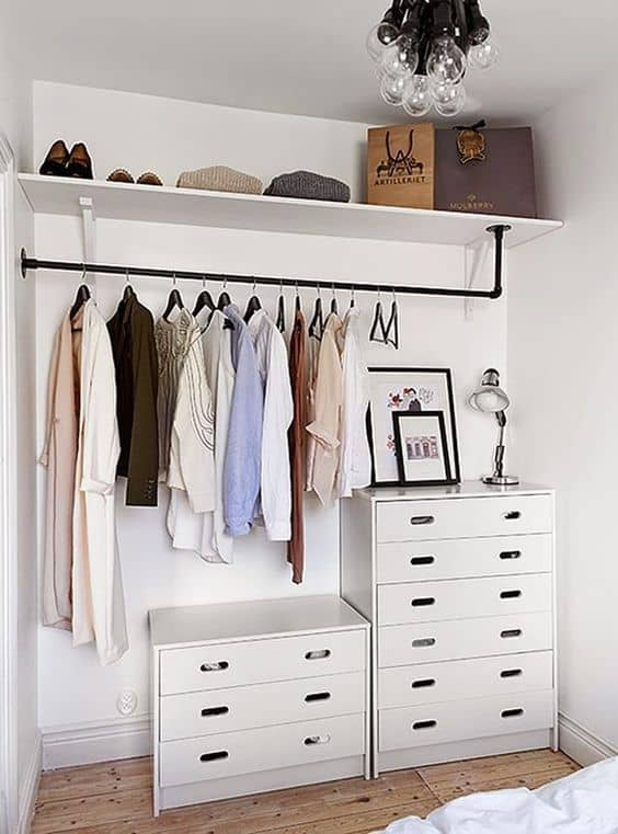 Makeshift closet on a budget for small bedroom organization