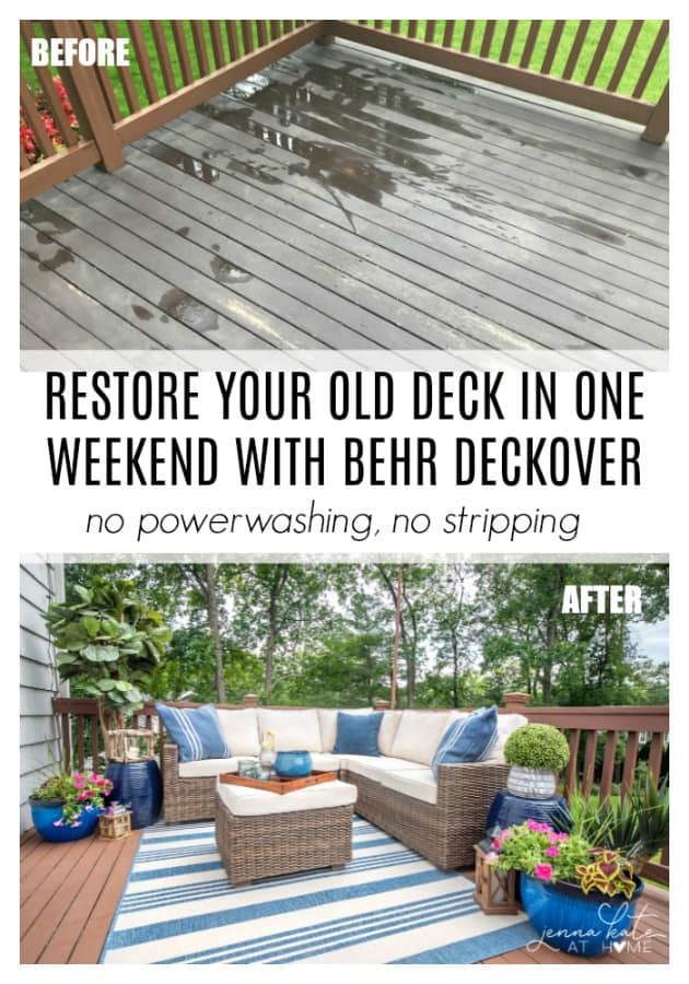 If your old deck is badly in need of a makeover, consider restoring it with this resurfacing product. You don't need to power wash or strip paint, it will go right over it and seal all those splinters and cracks. The best part is that it's cheap and can be done in a weekend!