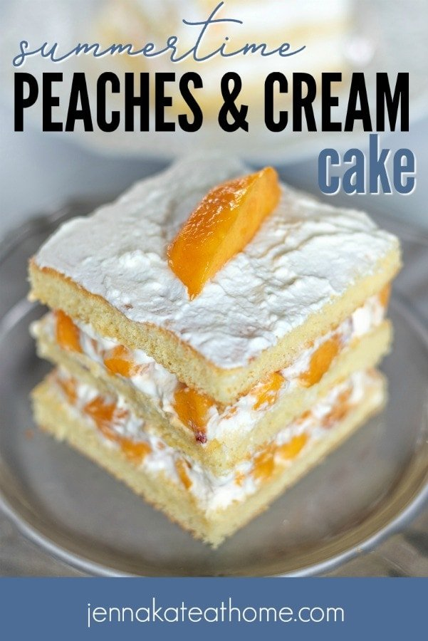 This easy peach cake is loaded with fresh peaches and homemade whipped cream for one of the best summertime desserts you'll ever eat!