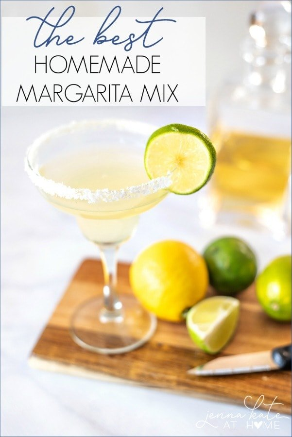 The best homemade margarita mix recipe. Made with fresh lime juice, fresh lemon juice and a basic simple syrup. Just add tequila!