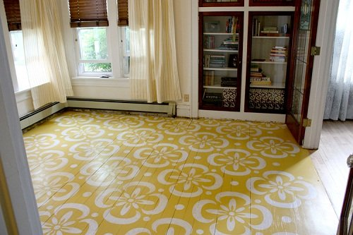 Add a stencil to your hardwoods. Cheap and cheerful!