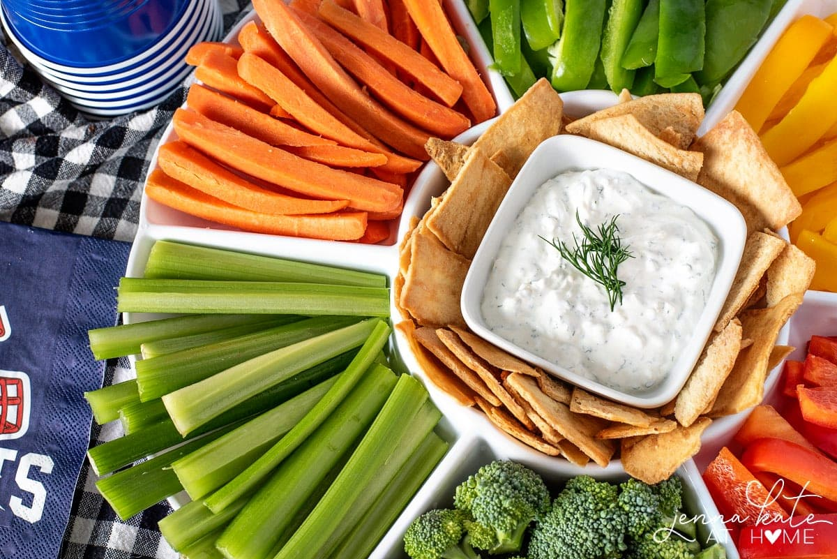 platter of fresh veggies and chips and homemade dip