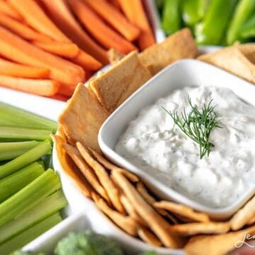 The best vegetable dip recipe made with sour cream, dill, dried onions and garlic salt.