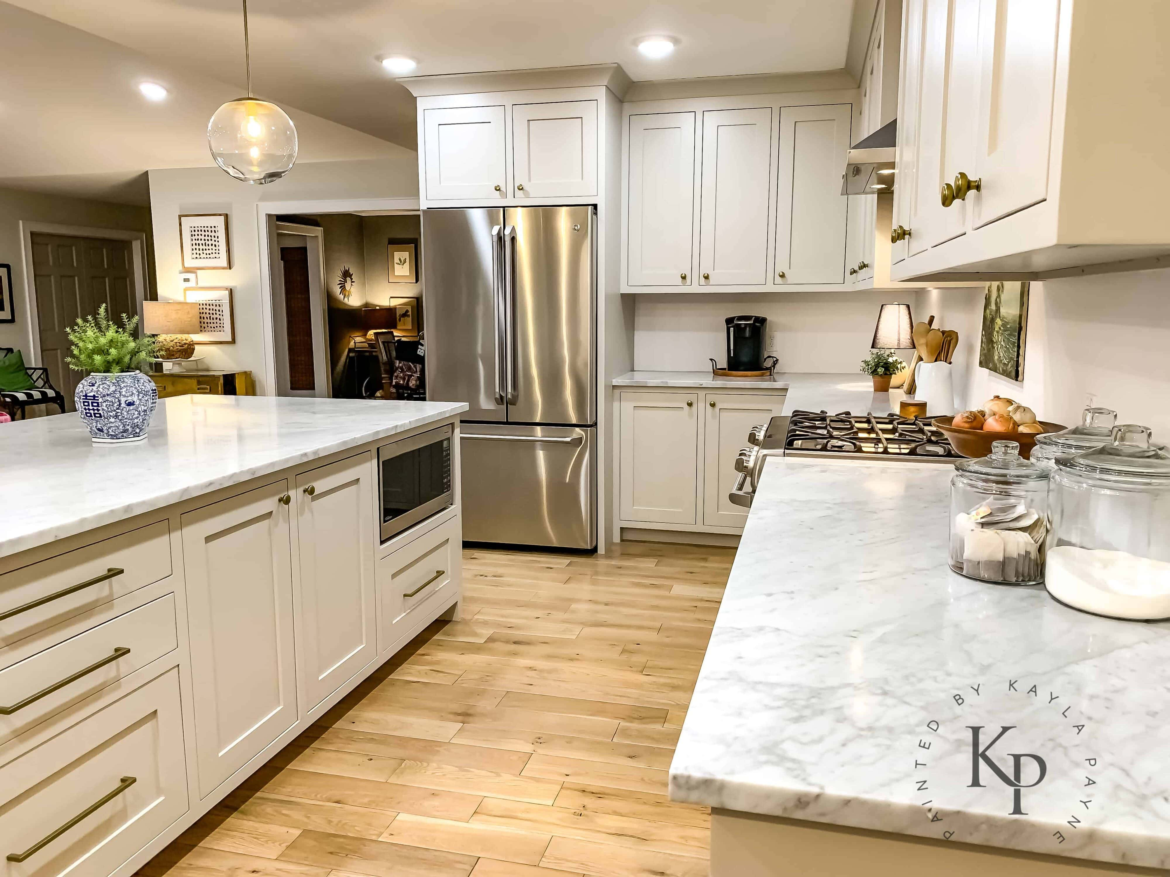 Kitchen cabinets painted with revere pewter