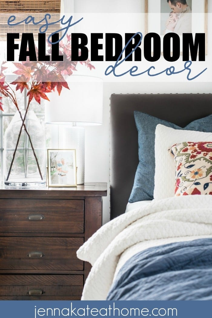 Easy fall decor ideas for the bedroom. With only 3 changes you'll instantly cozy up your space for the autumn season! #falldecor #bedroomdecor