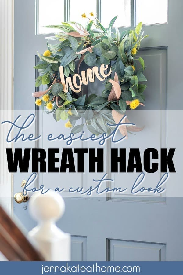 This is such a simple way to transform a cheap store wreath into something custom! It's so simple, I can't believe it! #decorideas #homeideas #diywreath