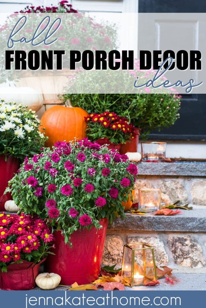 This stunning display for fall front porch decor is easy to achieve with cheap grocery store mums and pumpkins