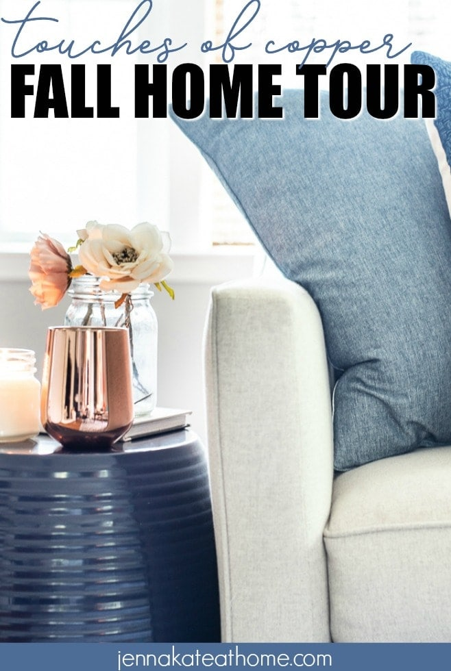 Adding a few simple copper items is an easy way to transition your already existing decor to a warm fall style.