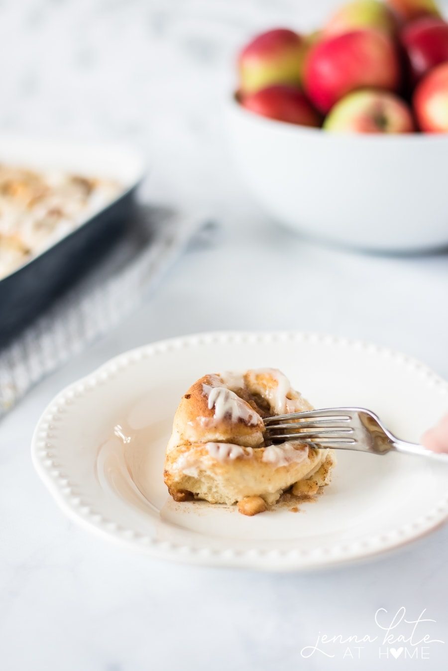 Apple pie cinnamon rolls with icing